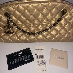 Chanel Just Mademoiselle Bowling Bag Gold